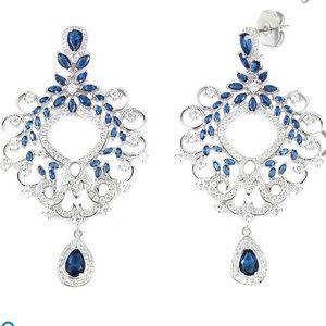 Simulated Blue Sapphire, Simulated Dia. Earrings